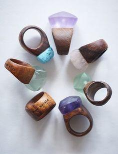 Nga Waiata Rings. Amazonite, amethyst, aquamarine, citrine, lapis lazuli, rose quartz, tigers eye and wood