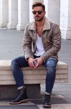Brown suede jacket, mens suede boots, brown leather boots, boots for men, s Stylish Mens Outfits, Casual Outfits, Men Casual, Classy Outfits, Casual Wear, Casual Styles, Swag Outfits Men, Men's Outfits, Casual Winter