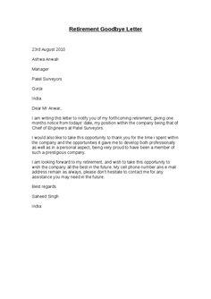 Superb Retirement Goodbye Letter Hashdoc