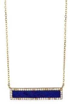 Lapis Bar Halo Pendant Necklace