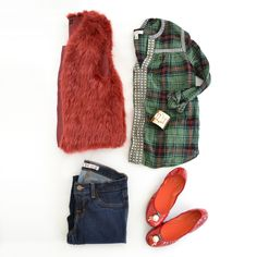No ugly sweaters required…show your holiday flair in style! Get The Look: Plaid Top: J.Crew Jeans: J Brand Ballet Flats: Lindsay Phillips Cuff: Lindsay Phillips (with Braelynn snap) Red Vest:… Lindsay Phillips, J Crew Jeans, Red Vest, Ugly Sweater, Holiday Fashion, J Brand, Festival Fashion, Get The Look, Get Dressed