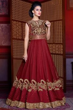Net Party Wear Anarkali Suit In Maroon Colour. Costumes Anarkali, Anarkali Suits, Wedding Wear, Wedding Suits, Angrakha Style, Floor Length Anarkali, Indian Salwar Kameez, Designer Salwar Suits, Indian