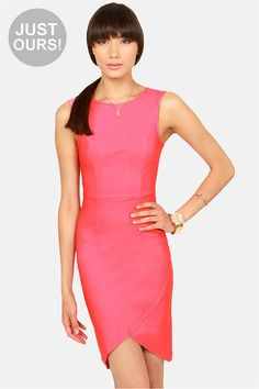 Chic Midi Dress - Pink Dress - Body-Con Dress - Cap Sleeve Dress - $41.00