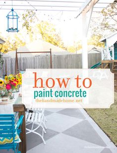 DIY Paint Projects: Turn a boring concrete patio into something fabulous by painting it with a beautiful design. Not only will it look great, but it could also improve the value of your home. How to Paint Concrete