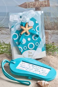 Perfect for a beach destination wedding, you'll have no worry packing these cute flip flop luggage tag favors. Fun and functional, your guests will have no difficulties finding their luggage with this bright aqua blue rubberized luggage tag. #BeachWeddingFavors #FlipFlopLuggageTagFavors #LuggageTagWeddingFavors