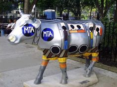 "New York City, New York - Cows on Parade 2000 - ""MTA Cow"" - 450 life-size fiberglass cow statues - largest parade"