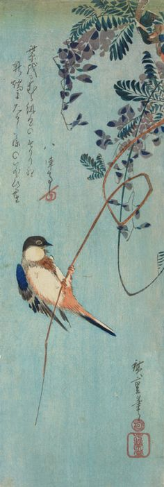 Hiroshige, Great Titmouse on Wisteria, woodblock