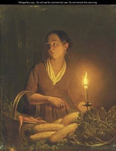 A girl at the night market - Petrus Van Schendel
