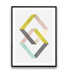 Kunst aan de muur van de abstracte geometrische print door Wallzilla