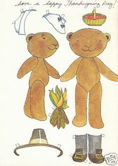 THANKSGIVING BEARS PILGRIM Greeting Paper Doll Card RARE Uncut Vintage RECYCLED