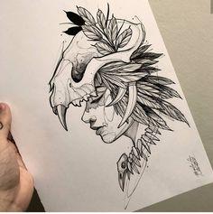 Tattoo Design Drawings, Tattoo Sketches, Tattoo Designs, Headdress Tattoo, Mujeres Tattoo, Dibujos Tattoo, Cartoon Art Styles, Sketchbook Drawings, Black And White Illustration