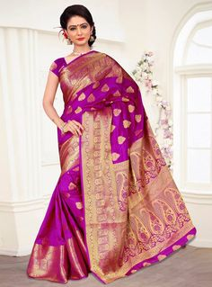 Purple Banarasi Silk Engagement Wear Saree 87486