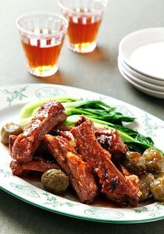 Japanese-style Spareribs Cooked with Plum Liquor - The acid in the plum liquor breaks down the protein and softens the meat. The recipe will also work with chicken wings.