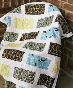 quick quilt using 4 fabrics plus sashing  Quilt Story: Fabric Tuesday, Link to us!