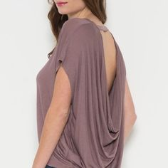Open back, Mauve Shirt Sleeve Dolman Top This top is beyond beautiful y'all! It's 100% rayon- soft & lightweight! The open back doesn't go too low so you don't feel exposed! It's the perfect amount of sass & class! Available in S M! Southern Lush Boutique  Tops Blouses