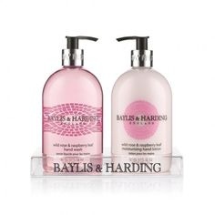 Baylis & Harding Wild Rose & Raspberry Leaf Twin Set: 500ml Hand Wash and 500ml Hand Lotion in an Acrylic Rack.  Keep hard working hands softly hydrated with hand wash and hand lotion that looks and feels as good as its scent.