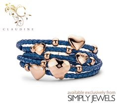#Claudine Blue Hearts & Rings #Leather #Bracelet with #Rose Plated and Stainless #Steel -xx- #brandnew #jewellery #collection #fashion #style http://simplyjewels.biz/view_product.php?id=2250