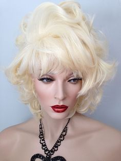 Glamour Puss, Drag Wig, Auburn Red, Natural Black, Pale Blonde, Wig is individually styled by the design team of New Attitude Wigs