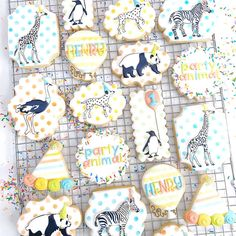 1st Birthday Party For Girls, Safari Birthday Party, Baby Boy Birthday, Animal Birthday, Birthday Ideas, Fourth Birthday, Animal Party, Party Animals, Cookie Decorating Party