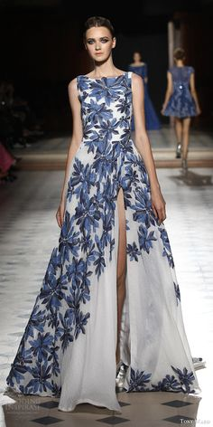 tony ward couture fall winter 2015 2016 look 2 sleeveless gown slit skirt bateau…