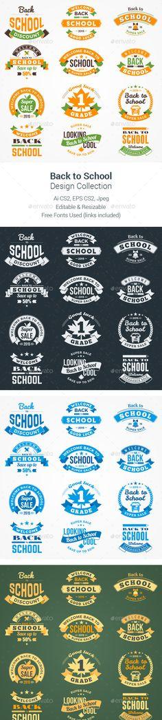 Back to School Design Collection #design Download: http://graphicriver.net/item/back-to-school-design-collection/12464547?ref=ksioks