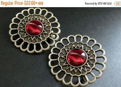EASTER SALE Two (2) Viking Shoulder Brooches. Bright Red Glass and Aged Silver Brooch Set. Norse Brooches. Viking Jewelry Historical Reenact by Gilliauna from Bits n Beads by Gilliauna. Find it now at http://ift.tt/2pfNm0W!