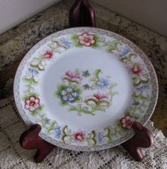 Great hostess gift! Pretty Noritake Nippon plate. ~ The Flamengo pattern, the design is a polychrome (the practice of decorating in variety of colors) in a floral motif, accented with gold trim.