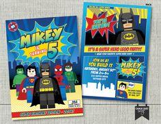 Custom LEGO SUPERHERO comic book style invitations. Any age Batman, Superman, Spiderman, Green Lantern, Hulk Digital or Printed 5 x 7