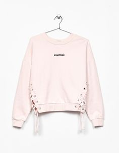 Sweatshirt with front bows and embroidered slogan - Sweatshirts - Bershka United Kingdom