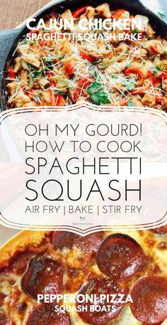cajun chicken spaghetti squash Four Cheese Spaghetti Squash, Best Spaghetti Squash Recipes, Cooking Spaghetti Squash, Squash Fritters, Pasta Substitute, Air Fryer Dinner Recipes, Pasta Recipes, Diet Recipes, Vegan Recipes