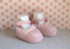 Baptism Shoes Baby Girl Booties Baby Sandals Pink by Pinknitting