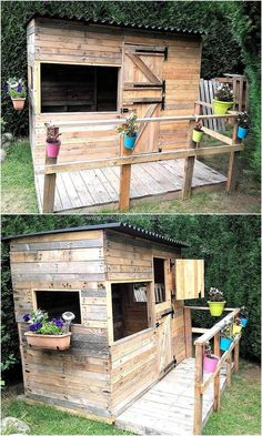 We can never forget to add an idea for the kids, so here it is and the idea is attractive because the reclaimed wood pallet playhouse is adorned with the planters of bright colors which grabs the attention of everyone who passes by the playhouse. Outside Playhouse, Pallet Playhouse, Build A Playhouse, Modern Playhouse, Pallet Kids, Diy Pallet Projects, Wood Projects, Recycled Pallets, Wooden Pallets
