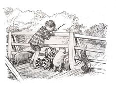 Christopher Robin, Winnie the Pooh, and friends playing Pooh Sticks. For me, there is no greater basis for summer fun than Pooh sticks, because the one thing that is absolutely required is imagination. Winnie The Pooh Drawing, Winnie The Pooh Quotes, Children's Book Illustration, Illustrations, Eeyore, Tigger, House At Pooh Corner, Hundred Acre Woods, Paddington Bear