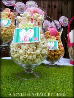 strawberry shortcake party popcorn bar