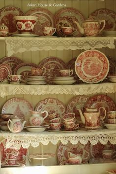 Aiken House & Gardens: Red & White Transferware in the Kitchen