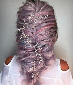 Bridal Hair Vine Long Hair Vine Wedding Hairpiece Crystal Hair Vine Pearl Hair Vine Gold Hair Vine S Rose Gold Hair, Silver Hair, Violet Hair, Headband Hairstyles, Braided Hairstyles, Hairstyle Ideas, Fashion Hairstyles, Hairstyles 2018, Updo Hairstyle
