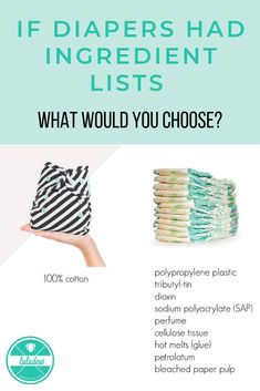 Cloth diaper vs. disposable diaper ingredients! Which do you want to put on your baby's bum? The ingredients in disposable / paper diapers are a major reason to cloth diaper. Parents are becoming more and more aware of the toxins and chemicals their babies are being exposed to in disposable diapers. #clothdiapers #clothvsdisposable #clothdiapersvsdisposablediapers #ecomom #diaperingredients #nontoxic #chemicalfree #reasonstoclothdiaper