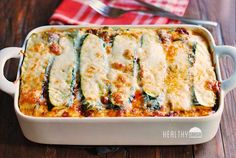 Zucchini slices replace the noodles in this keto, low-carb, gluten-free zucchini lasagna. It's an easy recipe - the only challenging part is salting the zucchini slices and draining them, but it's a must for preventing a soggy zucchini lasagna. Zucchini Lasagna Recipes, Veggie Recipes, Low Carb Recipes, Vegetarian Recipes, Cooking Recipes, Healthy Recipes, Sliced Zucchini Recipes, Gluten Free Zucchini Slice, Tasty Lasagna