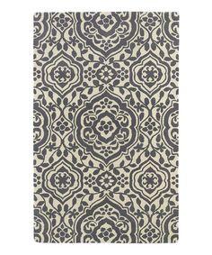 Look at this #zulilyfind! Gray Ornate Floral Wool Rug #zulilyfinds