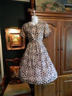 Vintage 50's 60's Print Dress w Nipped Waist Full Skirt Mad Men M | eBay