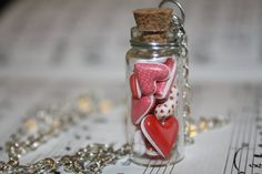 Hearts in a Bottle Valentine's Day glass vial by WoodlandTrinkets. Perfect for my Little Bit.