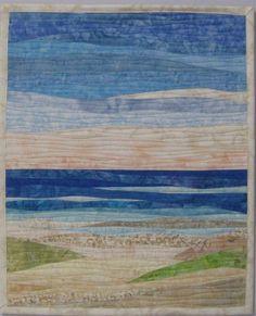 Art Quilt Ocean with Dunes 2 Landscape art by ArtQuiltsBySharon
