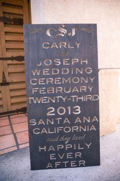 Laser cut wedding sign: http://www.stylemepretty.com/california-weddings/2013/09/16/santa-ana-wedding-from-oz-visuals/ | Photography: Oz Visuals - http://ozvisuals.com/