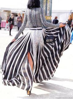 Paris fashion week style maxi stripes