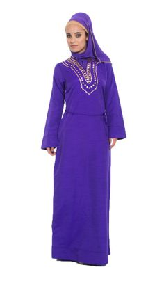 Sequin Embroidered Purple Islamic Formal Caftan Dress with Hijab at Artizara.com - Long Sleeve Modest Dress