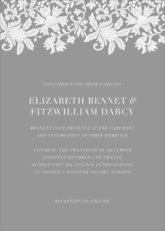 If your style screams sophistication, this is the perfect wedding invitation for you. This Oscar de la Renta for Paperless Post invitation design features a plain-colored background with an overlay text in white and is topped with a lace header. Wedding Loans, Wedding Venues, Got Married, Getting Married, Wedding Theme Inspiration, Wedding Invitation Paper, Paperless Post, Paper Source, Most Romantic