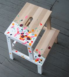 Paint a bare stepstool - wood or metal - solid cute colors or add some flair.  Perfect for kids, moms, dads, and friends. #DIY #make #gifts #decor #housewarming