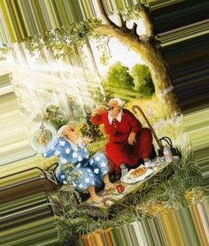ingelook - Google Search Awsome Pictures, Art Pictures, Growing Old Together, Quilt Labels, Illustration Art, Illustrations, Tea Art, Christmas Scenes, Old Women