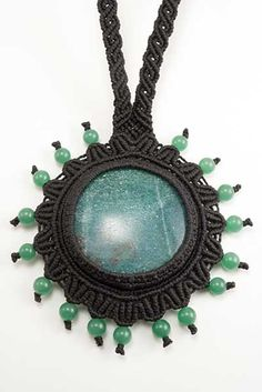 Amazonite cabochon macrame necklace with Agate beads. Adjustable with sliding knot.