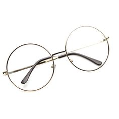 138efa855d1a22 Vintage Era Super Large Round Circle Metal Clear Lens Glasses 8714 Lunette  De Vue Ronde,